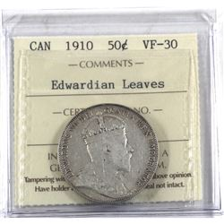 50-cent 1910 Edwardian Leaves ICCS Certified VF-30