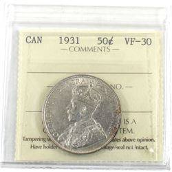 50-cent 1931 ICCS Certified VF-30. A great mid-grade coin with hints of mint luster.