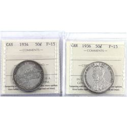 50-cent 1934 & 1936 ICCS Certified F-15. 2pcs.