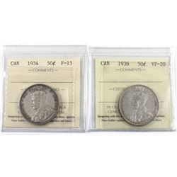 50-cent 1934 F-15 & 1936 VF-20 Both ICCS Certified. Great problem free coins for the last 2 George 5