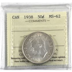 50-cent 1938 ICCS Certified MS-62