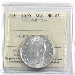 50-cent 1939 ICCS Certified MS-63. Blast white coin with great eye appeal.
