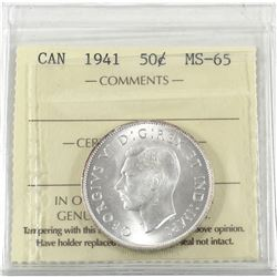 50-cent 1941 ICCS Certified MS-65! Frosted White coin with exceptional eye appeal. Worth a premium B