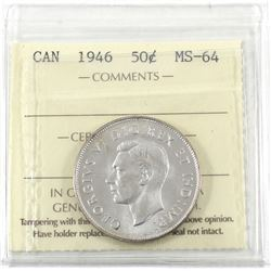 50-cent 1946 ICCS Certified MS-64! Bright Lustrous coin.