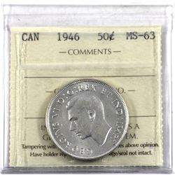 50-cent 1946 ICCS Certified MS-63.