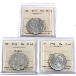 50-cent 1949, 1950 Design, & 1951 all ICCS Certified MS-63