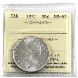 50-cent 1951 ICCS Certified MS-65. A bright flashy coin.