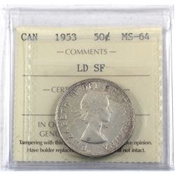 50-cent 1953 LD SF ICCS Certified MS-64.