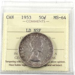 50-cent 1953 LD NSF ICCS Certified MS-64. Light toning with full underlying lustre. *rare variety t
