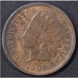 1908-S INDIAN CENT, VG/ FINE