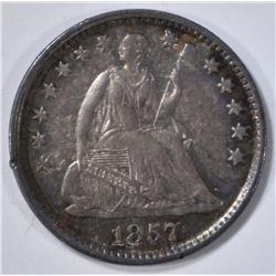 1857 SEATED LIBERTY HALF DIME, AU