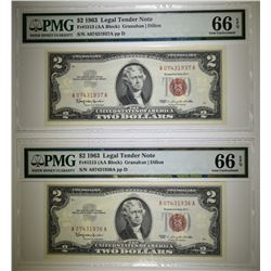 2-1963 $2 RED SEAL NOTES PMG-66 EPQ