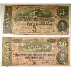 1864 $5.00 & $10.00 CONFEDERATE NOTES