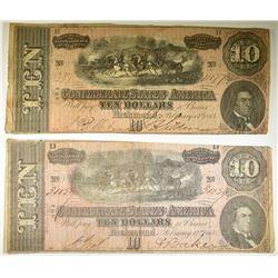 2-1864 $10.00 CONFEDERATE NOTES