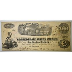 1862 $100 CONFEDERATE NOTE