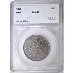 1856 SEATED LIBERTY HALF DOLLAR SEGS CH/GEM BU