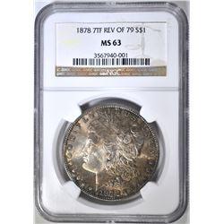 1878 7TF REV OF 79 MORGAN DOLLAR NGC MS-63