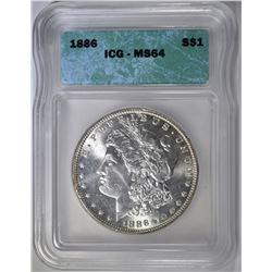 1886 MORGAN DOLLAR, ICG MS-64