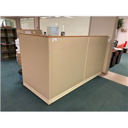 LOT OF 15 X 5' TALL WOOD TRIM OFFICE PARTITIONS, INCLUDE ALL HARDWARE