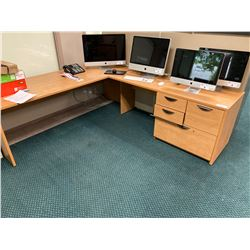 MAPLE L-SHAPED EXECUTIVE / PROGRAMMER'S DESK