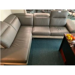 GREY LEATHER SECTIONAL SOFA WITH ADJUSTABLE HEADRESTS