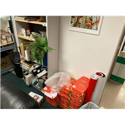 SHELF WITH CONTENTS AND LARGE SUPPLY OF COPIER PAPER