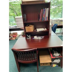 MAHOGANY SALES DESK WITH HUTCH