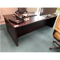 SOLID WOOD DARK MAHOGANY EXECUTIVE OFFICE SUITE INCLUDES: EXECUTIVE DESK,