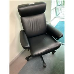 BLACK LEATHER ERGONOMIC EXECUTIVE OFFICE CHAIR