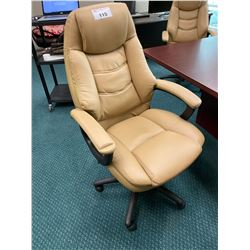 TAN LEATHER OVERSTUFFED BOARDROOM / EXECUTIVE CHAIR