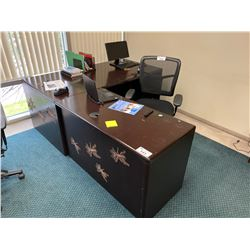 DARK MAHOGANY L-SHAPED EXECUTIVE DESK