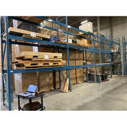 """4 SECTIONS OF BLUE WAREHOUSE RACKING.  INCLUDES 5 X 18' TALL UPRIGHTS, 24 X 12' LONG BY 6.5"""" THICK"""