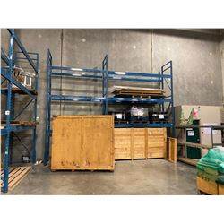 """2 SECTIONS OF BLUE WAREHOUSE RACKING.  INCLUDES 3  X 18' TALL UPRIGHTS, 6  X 12' LONG BY 6.5"""" THICK"""