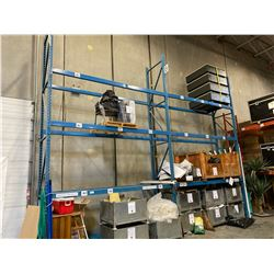 """2 SECTIONS OF BLUE WAREHOUSE RACKING.  INCLUDES 3  X 18' TALL UPRIGHTS, 12 X 12' BY 4.5"""" THICK"""