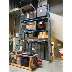 """SINGLE SECTION OF BLUE WAREHOUSE RACKING.  INCLUDES 2  X 18' TALL UPRIGHTS, 6  X 12' BY 4.5"""" THICK"""