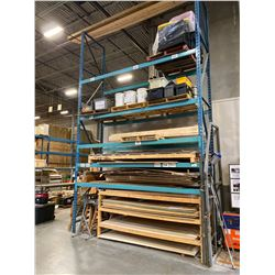 """SINGLE SECTION OF BLUE WAREHOUSE RACKING.  INCLUDES 2  X 18' TALL UPRIGHTS, 10 X 12' BY 4.5"""" THICK"""