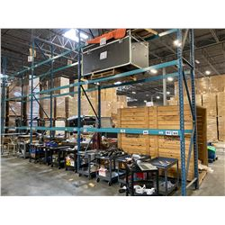 """3 SECTIONS OF BLUE WAREHOUSE RACKING.  INCLUDES 4  X 18' TALL UPRIGHTS, 18 X 12' BY 4.5"""" THICK"""