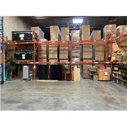 """3 SECTIONS OF  WAREHOUSE RACKING.  INCLUDES 3  X 14' TALL UPRIGHTS, 12 X 12' BY 6"""" THICK"""