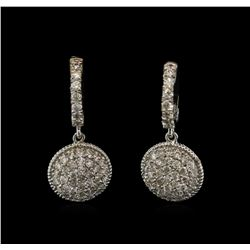 1.34 ctw Diamond Dangle Earrings - 14KT White Gold