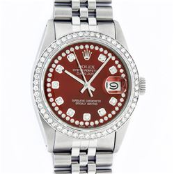 Rolex Mens Stainless Steel Red String Diamond 36MM Datejust Wristwatch With Role