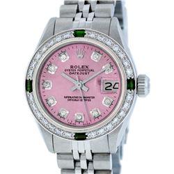 Rolex Ladies Stainless Steel Pink Diamond & Emerald Datejust Wristwatch