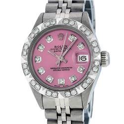 Rolex Ladies Stainless Steel Pink Pyramid Diamond Datejust Wristwatch