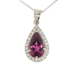 18k White Gold 4.20 ctw Pear Shaped Rubellite Tourmaline Pendant w/ Diamond Halo