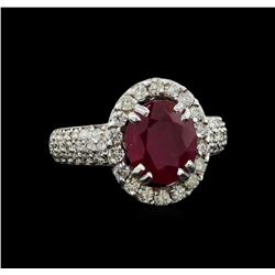 GIA Cert 3.24 ctw Ruby and Diamond Ring - 14KT White Gold