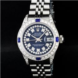 Rolex Ladies Stainless Steel 18K Gold Bezel Blue Diamond Lugs Datejust Wristwatc