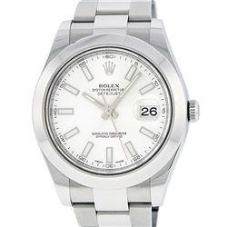 Rolex Mens Stainless Steel White Index 41MM Datejust 2 Wristwatch