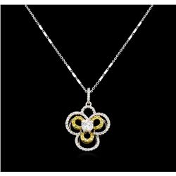 0.87 ctw Diamond Pendant With Chain - 18KT White Gold