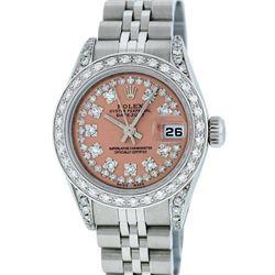 Rolex Ladies Stainless Steel Quickset Salmon Diamond Lugs Jubilee Datejust Wrist