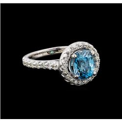 3.16 ctw Blue Zircon and Diamond Ring - 14KT White Gold