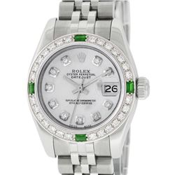 Rolex Ladies Stainless Steel Quickset Mother Of Pearl Diamond & Emerald Datejust
